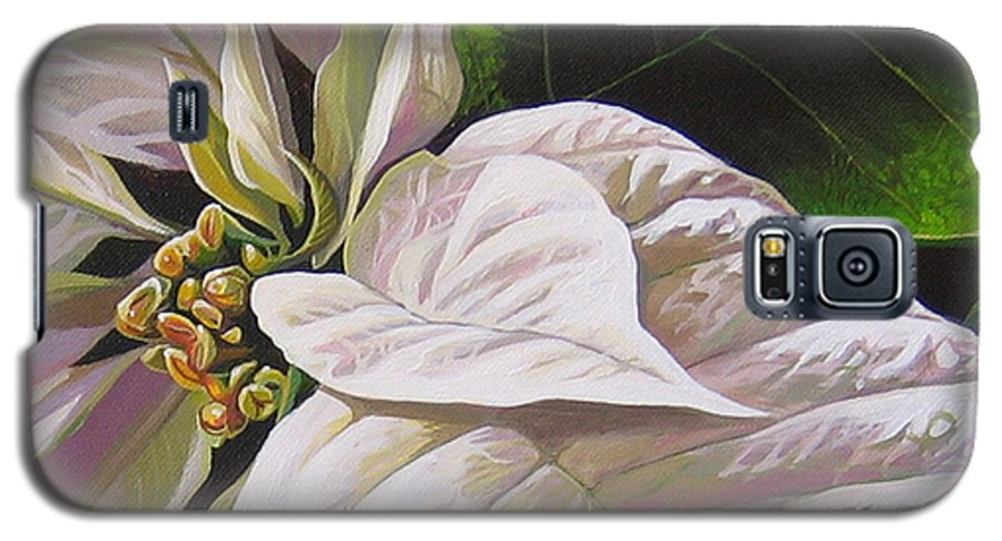 White Poinsettia Galaxy S5 Case featuring the painting Christmas Eve by Hunter Jay