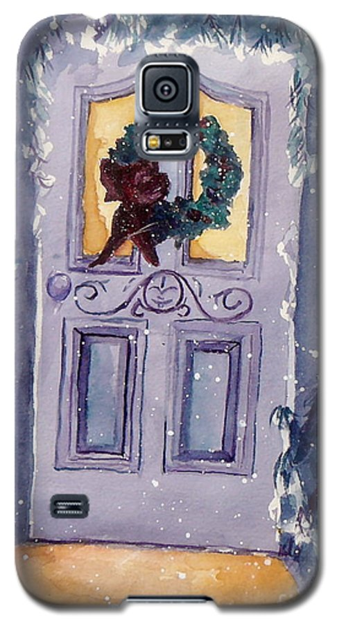 Holiday Scene Galaxy S5 Case featuring the painting Christmas Eve by Jan Bennicoff