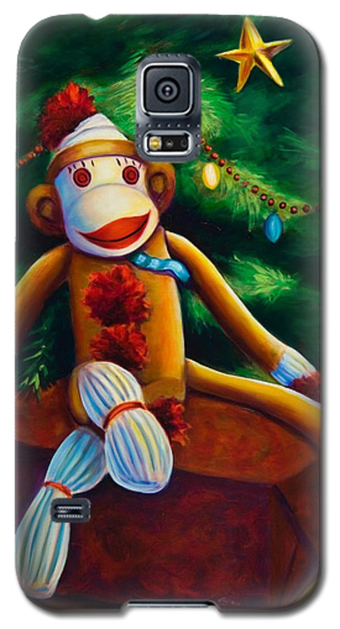 Sock Monkey Galaxy S5 Case featuring the painting Christmas Made Of Sockies by Shannon Grissom