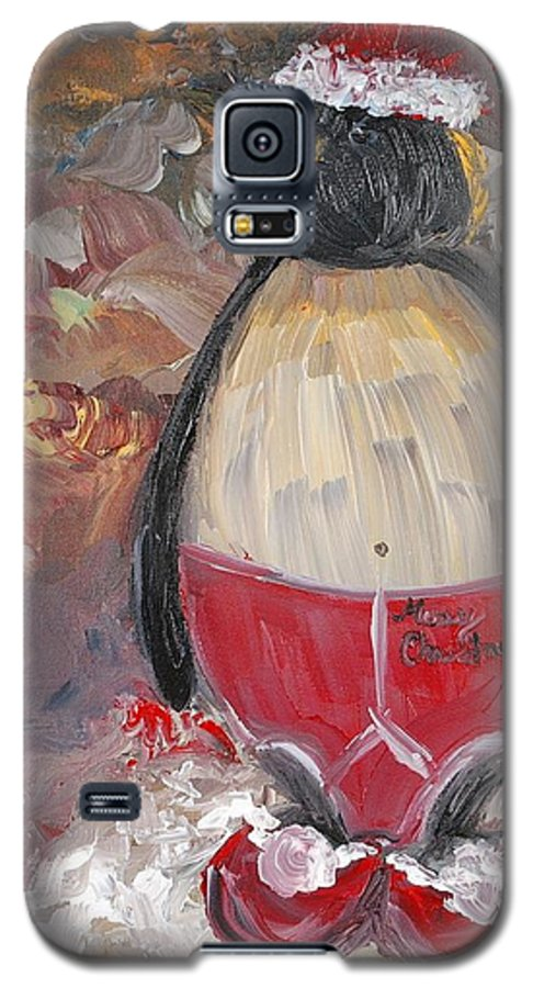 Penguin Galaxy S5 Case featuring the painting Christmas Penguin by Nadine Rippelmeyer