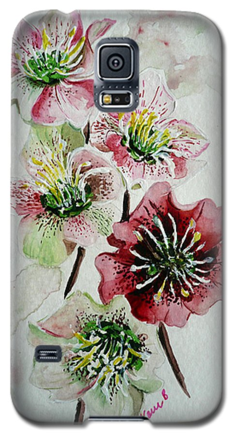 Floral Flower Pink Galaxy S5 Case featuring the painting Christmas Rose by Karin Dawn Kelshall- Best