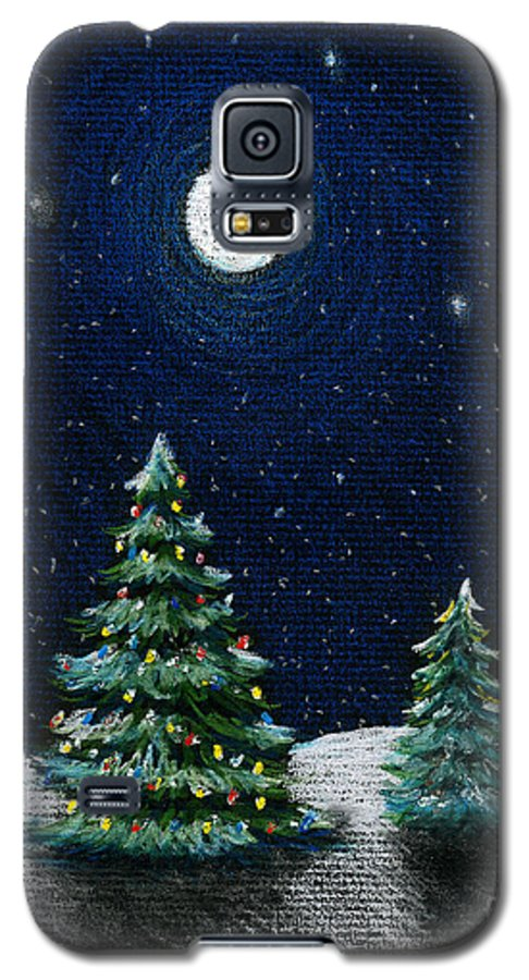 Christmas Trees Galaxy S5 Case featuring the drawing Christmas Trees In The Moonlight by Nancy Mueller