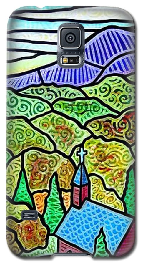 Church Galaxy S5 Case featuring the painting Church In The Wildwood by Jim Harris