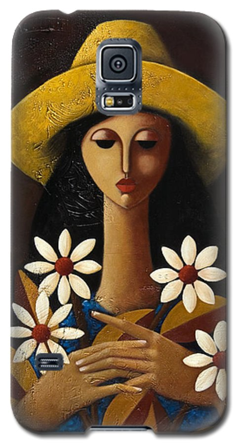 Puerto Rico Galaxy S5 Case featuring the painting Cinco Margaritas by Oscar Ortiz