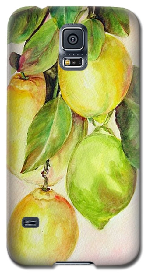 Still Life Galaxy S5 Case featuring the painting Citrons by Muriel Dolemieux