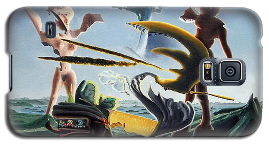 Landscape Galaxy S5 Case featuring the painting Civilization Found Intact by Dave Martsolf
