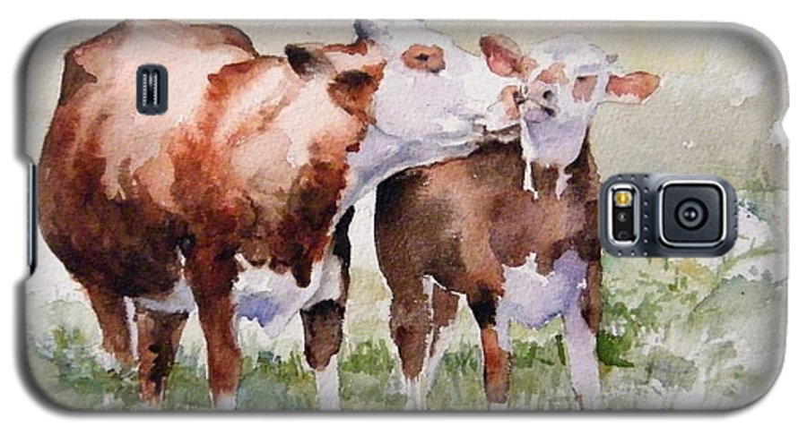 Cows Galaxy S5 Case featuring the painting Clean Behind The Ears by Debra Jones