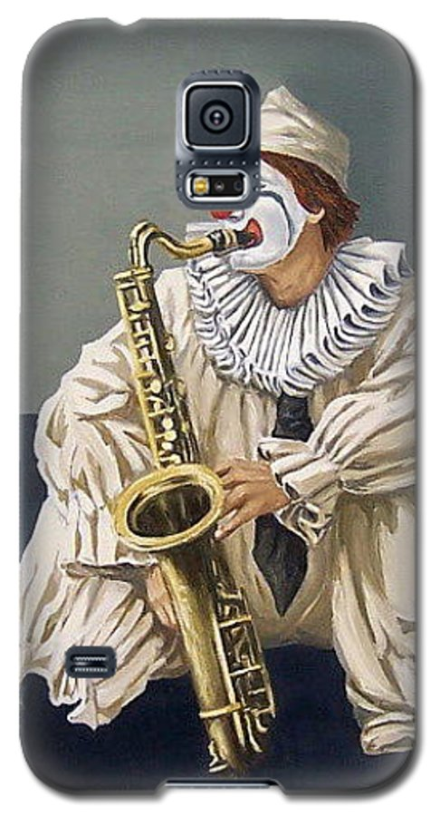 Clown Figurative Portrait People Galaxy S5 Case featuring the painting Clown by Natalia Tejera