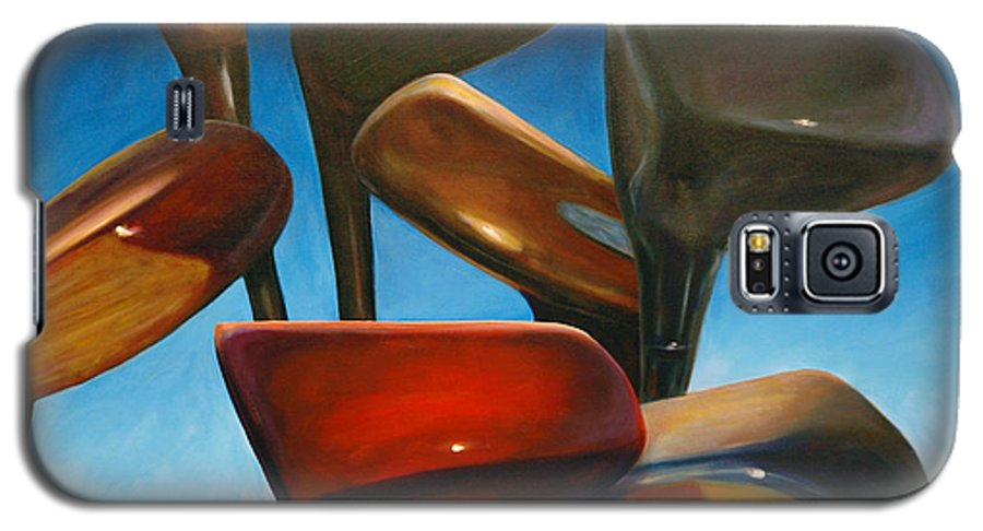 Golf Clubs Brown Galaxy S5 Case featuring the painting Clubs Rising by Shannon Grissom