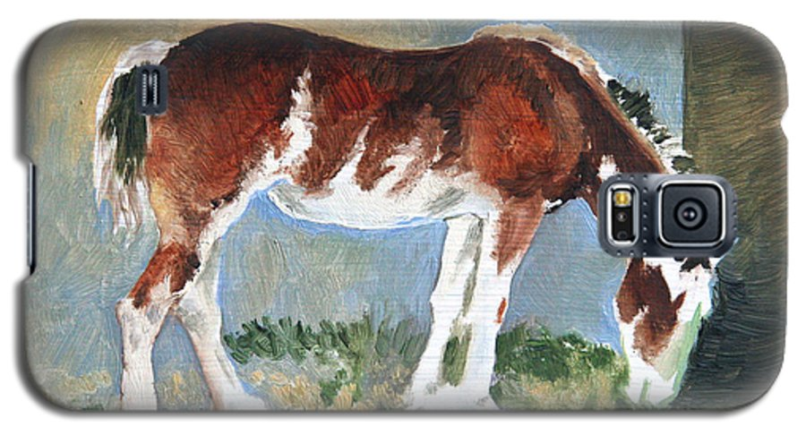 Horse Galaxy S5 Case featuring the painting Clydesdale Colt Pad by Eileen Hale