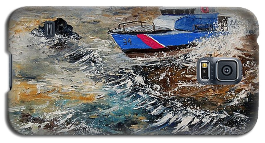 Sea Galaxy S5 Case featuring the painting Coastguards by Pol Ledent