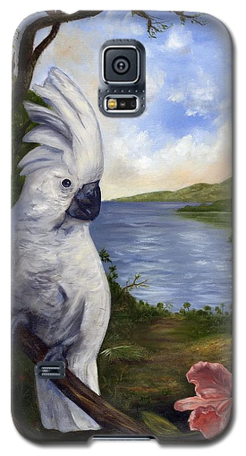 Landscape Galaxy S5 Case featuring the painting Cockatoo And Orchid by Anne Kushnick