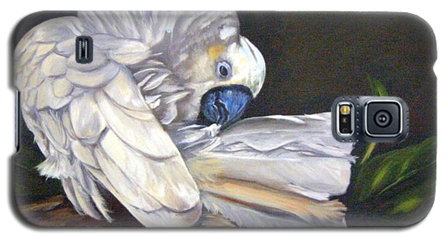 Birds Galaxy S5 Case featuring the painting Cockatoo Preening by Anne Kushnick