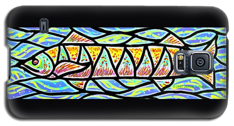 Fish Galaxy S5 Case featuring the painting Colorful Longfish by Jim Harris