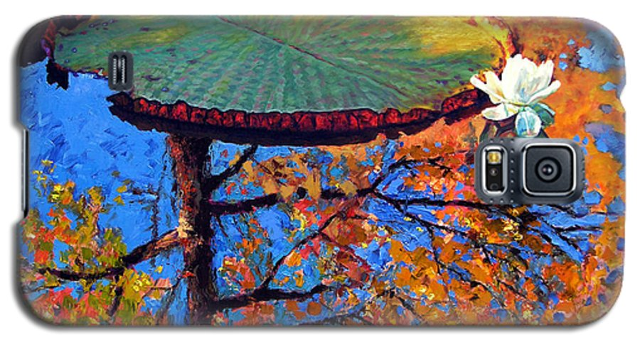 Fall Galaxy S5 Case featuring the painting Colors Of Fall On The Lily Pond by John Lautermilch
