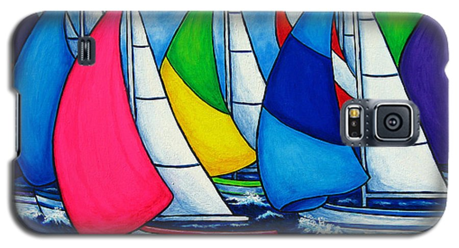 Boats Galaxy S5 Case featuring the painting Colourful Regatta by Lisa Lorenz