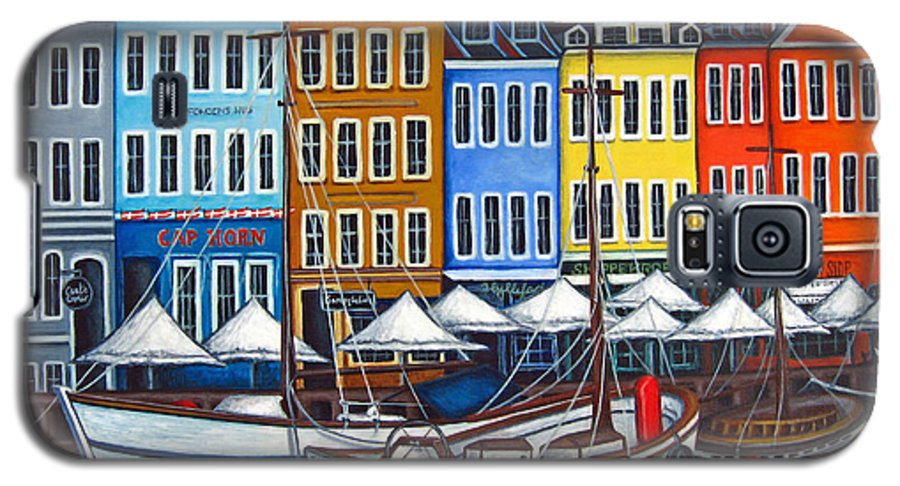 Nyhavn Galaxy S5 Case featuring the painting Colours Of Nyhavn by Lisa Lorenz