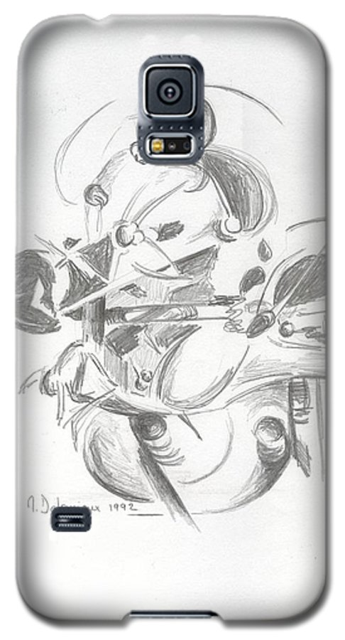 Abstract Galaxy S5 Case featuring the drawing Combat by Muriel Dolemieux