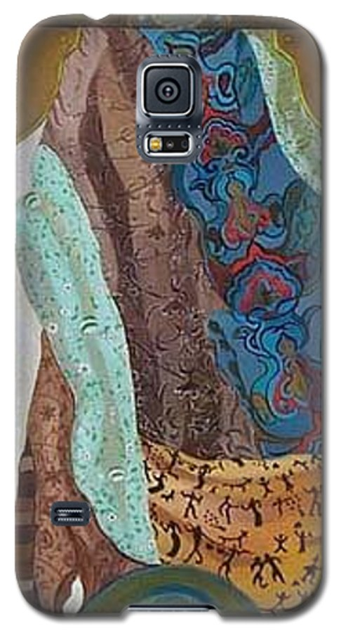 Galaxy S5 Case featuring the painting Composition With Scarfs by Antoaneta Melnikova- Hillman