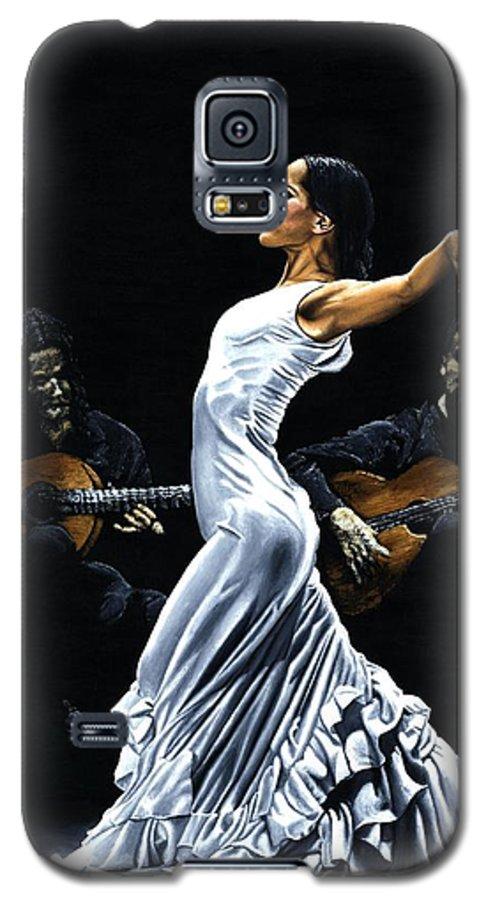 Flamenco Galaxy S5 Case featuring the painting Concentracion Del Funcionamiento Del Flamenco by Richard Young