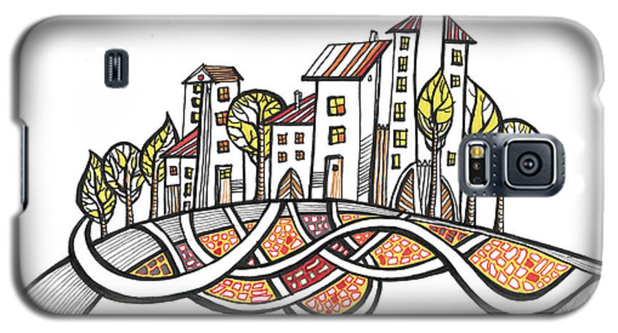 Houses Galaxy S5 Case featuring the drawing Connections by Aniko Hencz