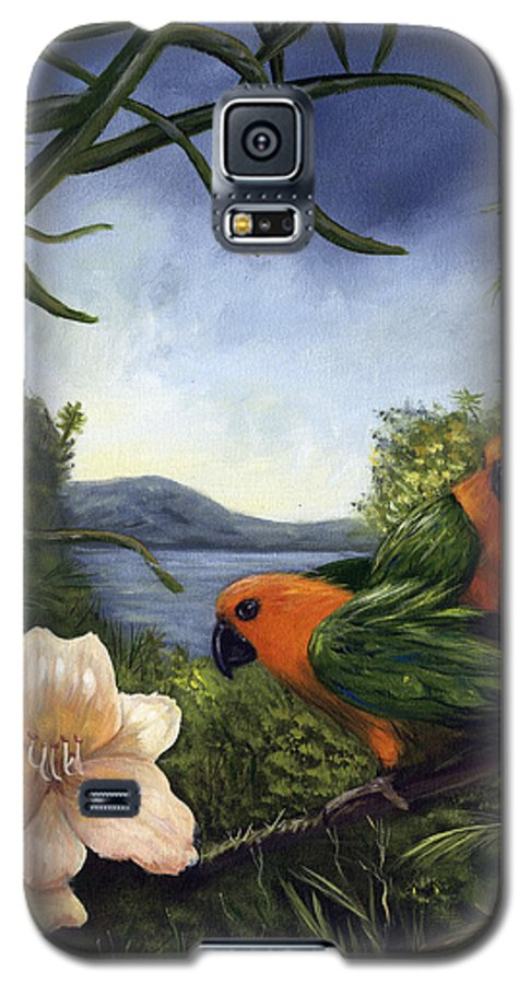 Landscape Galaxy S5 Case featuring the painting Conures by Anne Kushnick