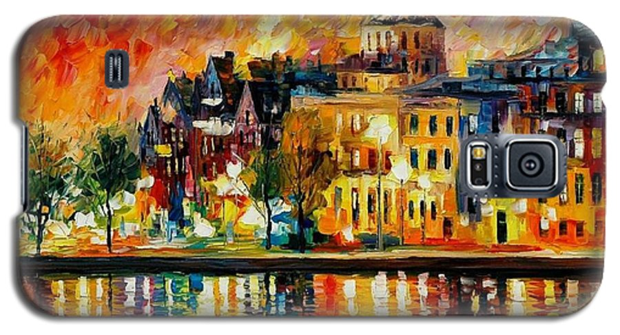 City Galaxy S5 Case featuring the painting Copenhagen Original Oil Painting by Leonid Afremov