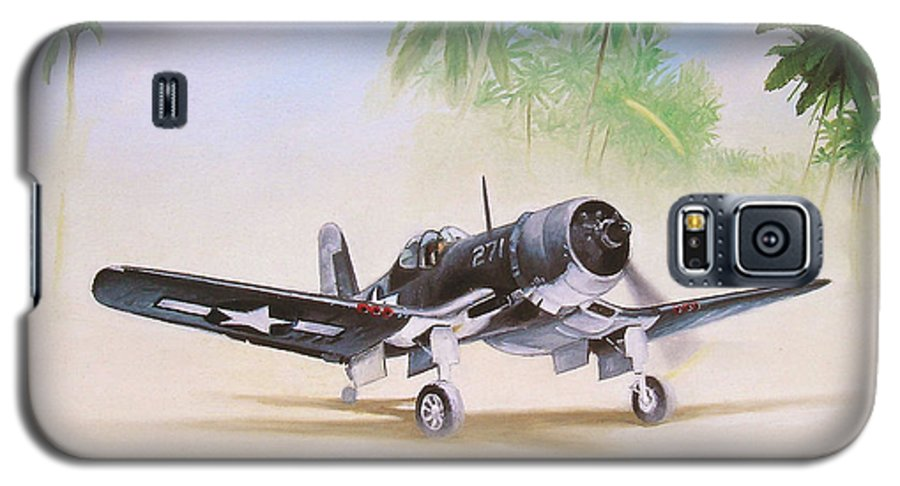 Aviation Galaxy S5 Case featuring the painting Corsair Preflight by Marc Stewart