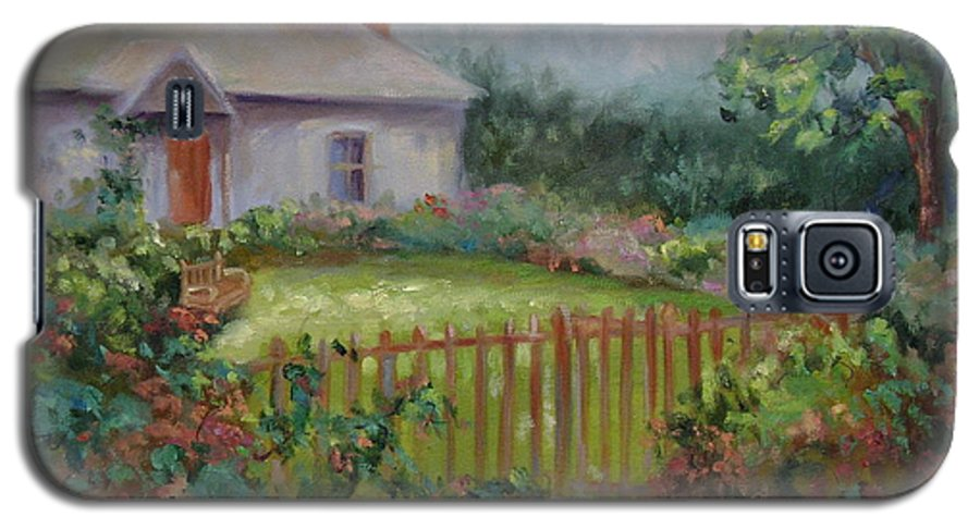 Cottswold Galaxy S5 Case featuring the painting Cottswold Cottage by Ginger Concepcion