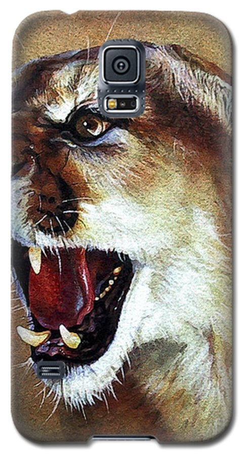 Southwest Art Galaxy S5 Case featuring the painting Cougar by J W Baker
