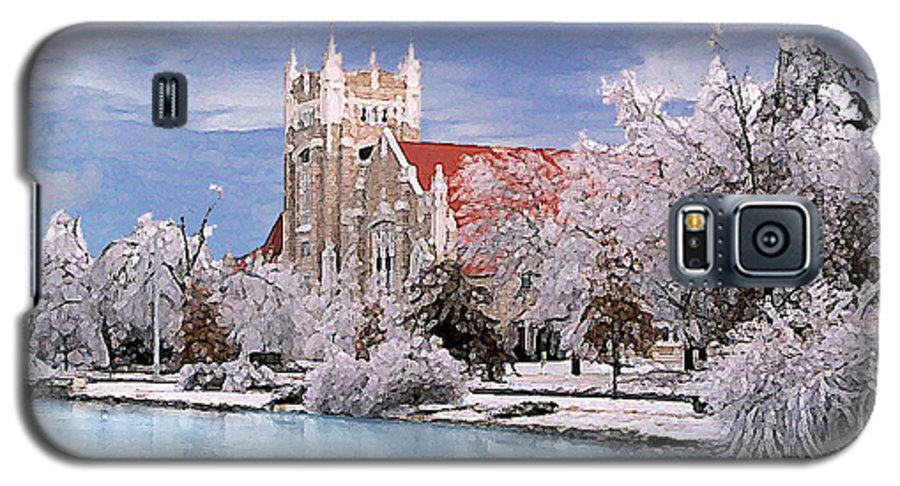 Winter Galaxy S5 Case featuring the photograph Country Club Christian Church by Steve Karol
