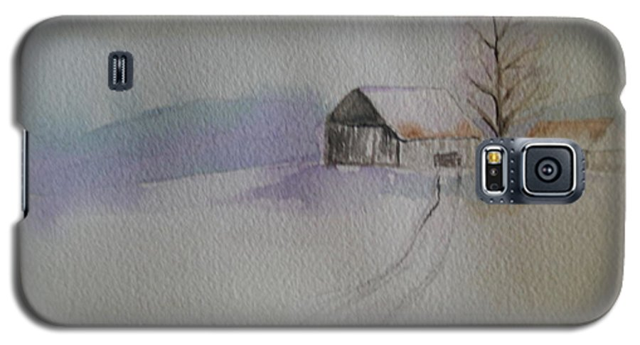 Barn Snow Winter Tree Landscape Cold Galaxy S5 Case featuring the painting Country Snow by Patricia Caldwell