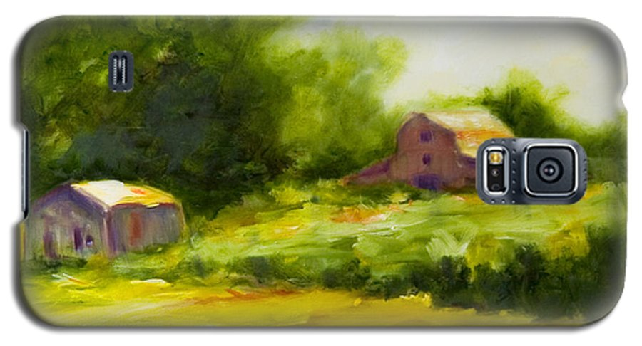 Landscape In Green Galaxy S5 Case featuring the painting Courage by Shannon Grissom
