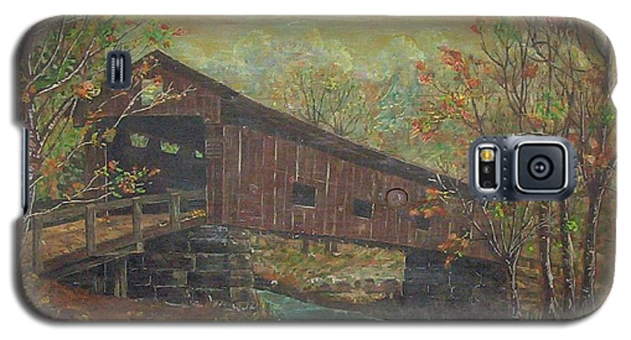 Bridge Galaxy S5 Case featuring the painting Covered Bridge by Phyllis Mae Richardson Fisher