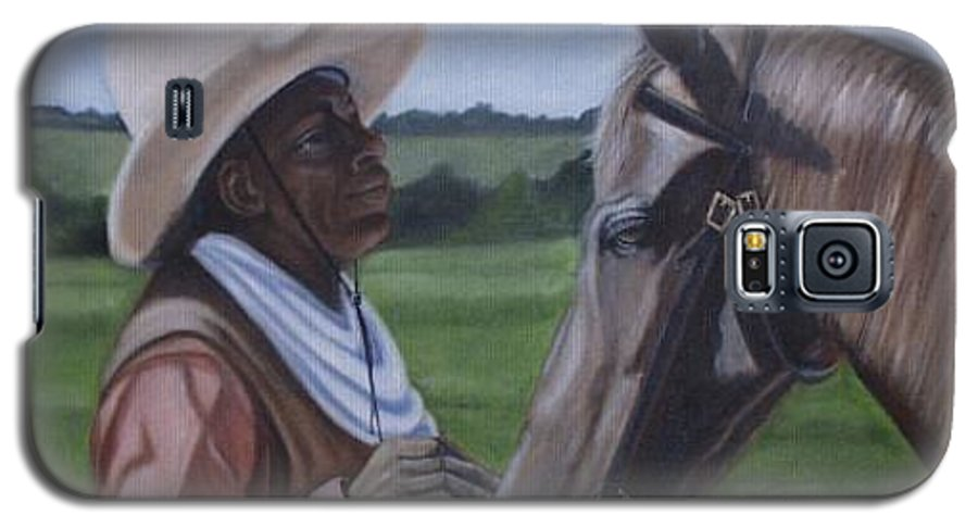 Portrait Galaxy S5 Case featuring the painting Cowboy2 by Toni Berry