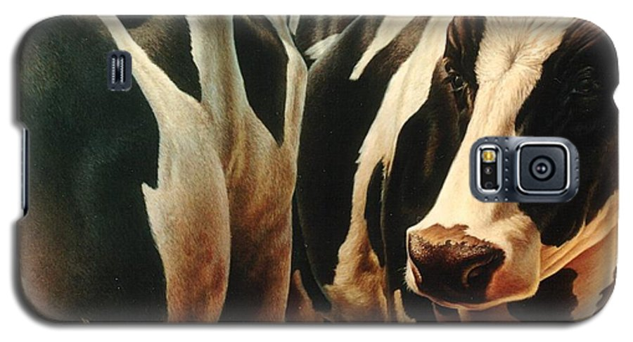 Cows Galaxy S5 Case featuring the painting Cows 1 by Hans Droog