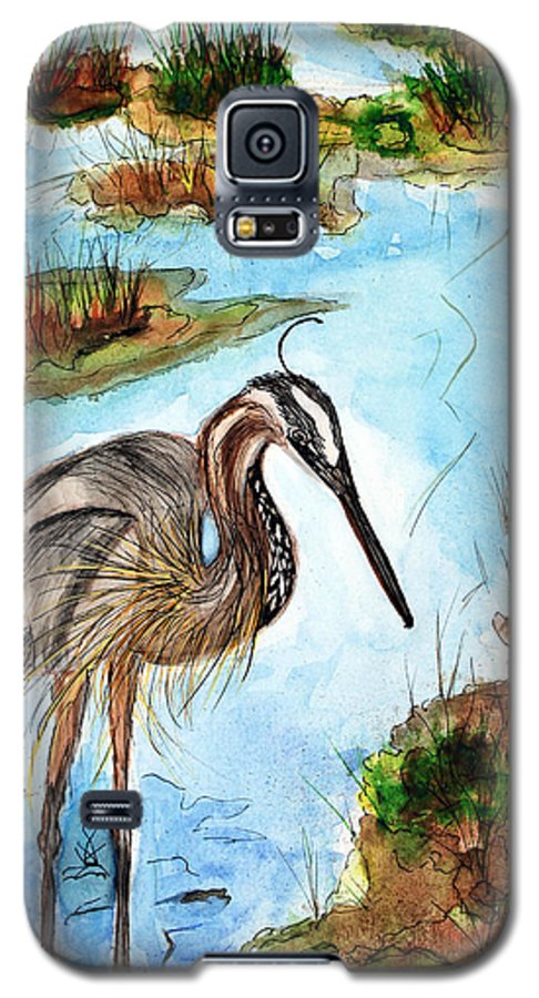 Birds Galaxy S5 Case featuring the painting Crane In Florida Swamp by Margaret Fortunato