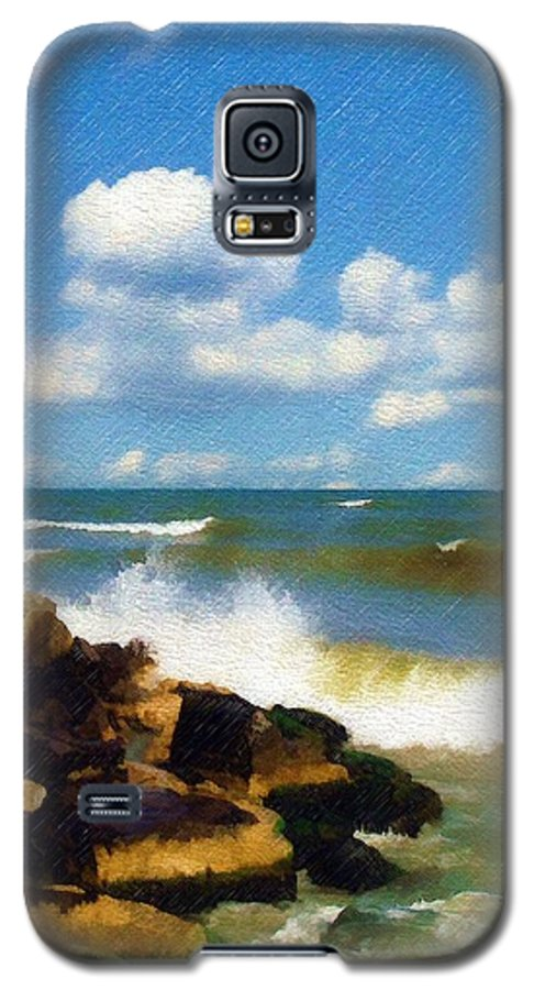 Seascape Galaxy S5 Case featuring the photograph Crashing Into Shore by Sandy MacGowan