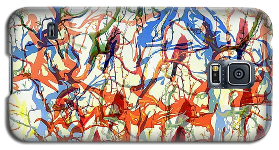 Birds Galaxy S5 Case featuring the digital art Crazy Cardinals by Shelley Jones