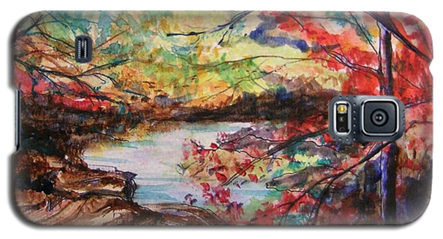 Creek Galaxy S5 Case featuring the painting Creek Blue Ridge Mountains by Lizzy Forrester