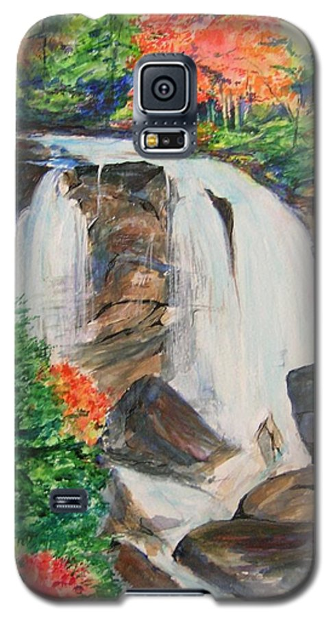 Creek Galaxy S5 Case featuring the painting Creek In Autumn by Lizzy Forrester