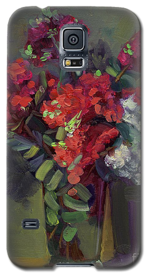Floral Galaxy S5 Case featuring the painting Crepe Myrtles In Glass by Lilibeth Andre