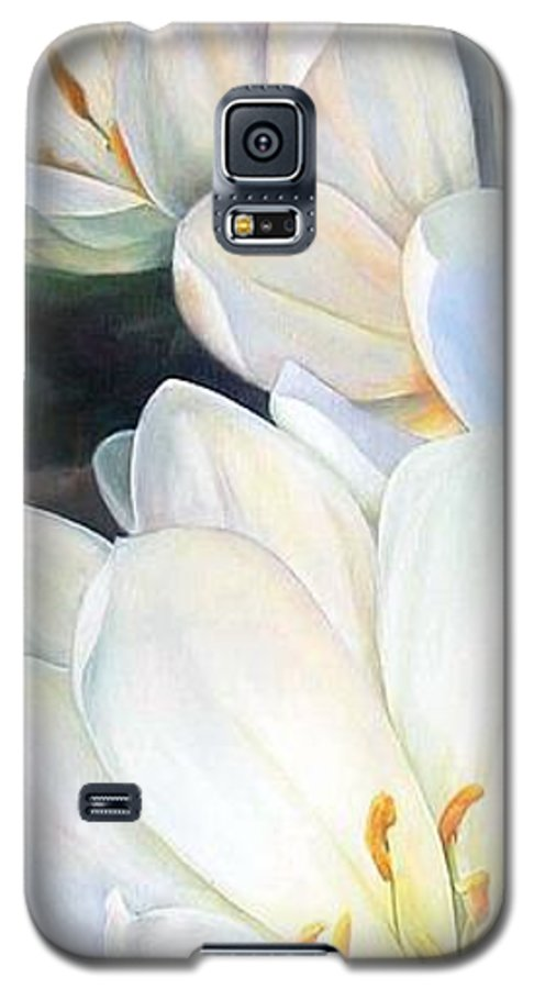 Floral Painting Galaxy S5 Case featuring the painting Crocus by Muriel Dolemieux