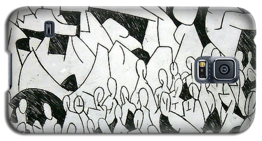 Etching Galaxy S5 Case featuring the print Crowd by Thomas Valentine
