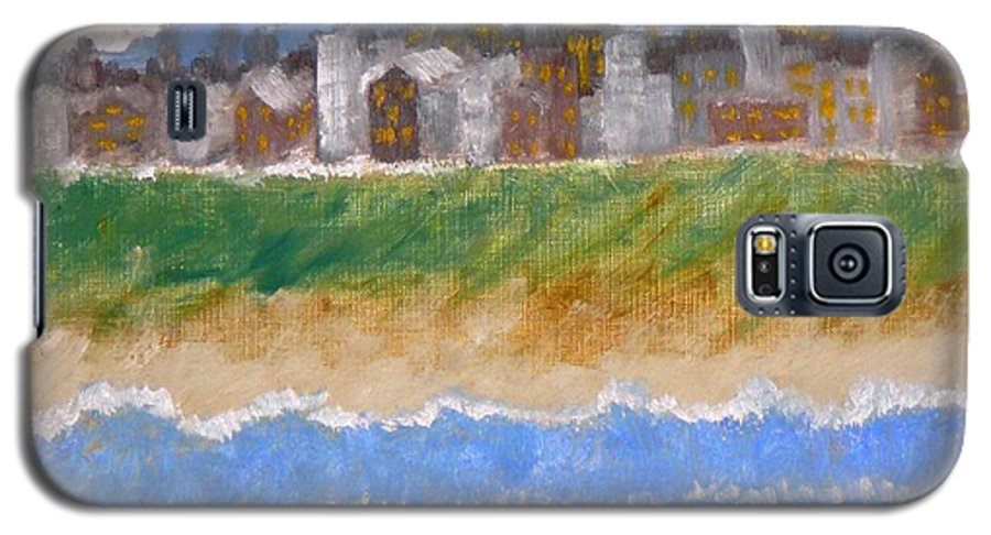 Seascape Galaxy S5 Case featuring the painting Crowded Beaches by R B