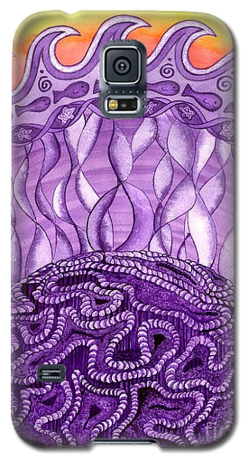 Chakra Galaxy S5 Case featuring the painting Crown Chakra by Catherine G McElroy