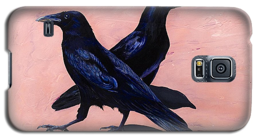 Crows Galaxy S5 Case featuring the painting Crows by Sandi Baker