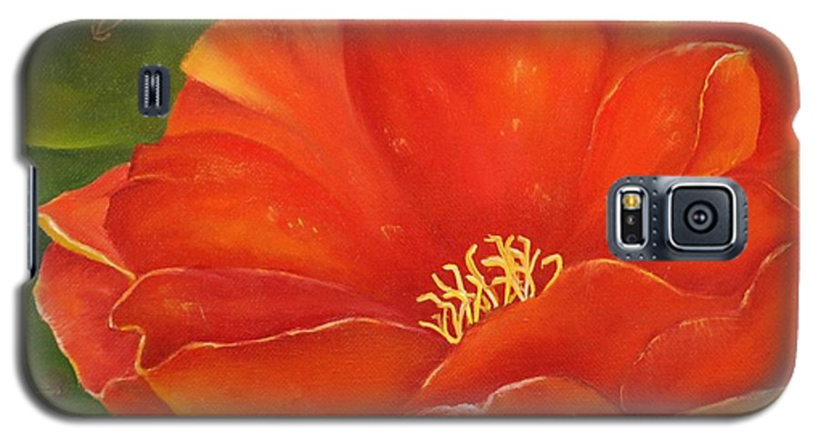 Cactus Galaxy S5 Case featuring the painting Cruces Bloom by Teresa Lynn Johnson