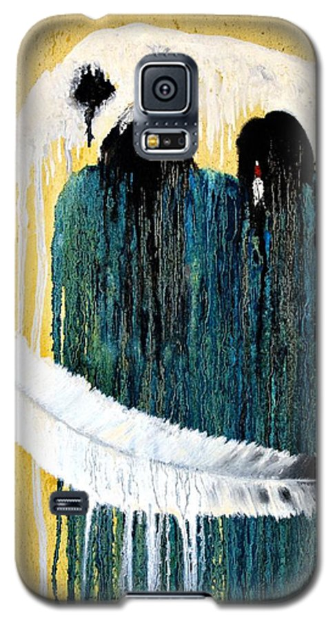 Native American Galaxy S5 Case featuring the painting Crying For A Vision by Patrick Trotter