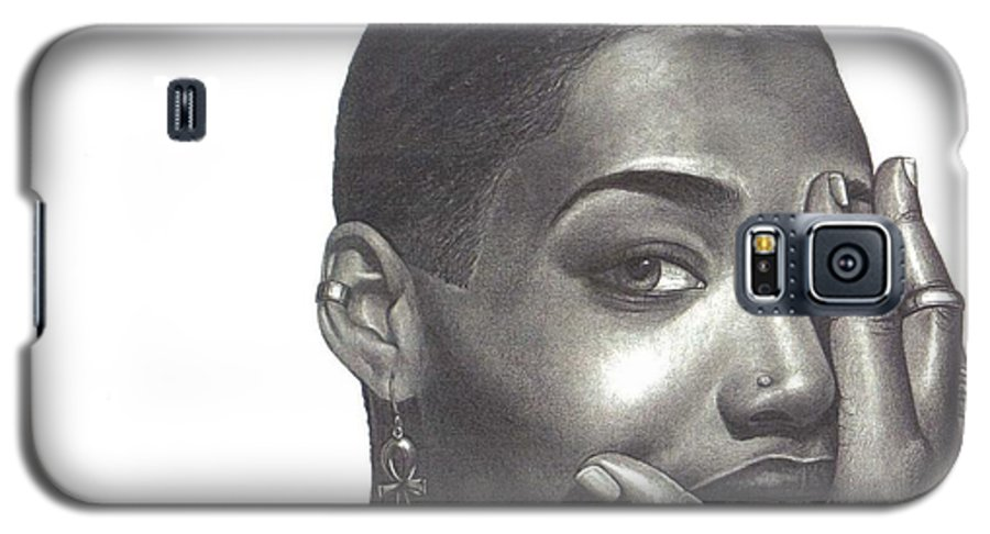 Woman Galaxy S5 Case featuring the drawing Crystal Blaque by Charlene Cooper
